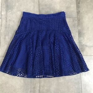H&M cobalt blue textured lace mini skirt!